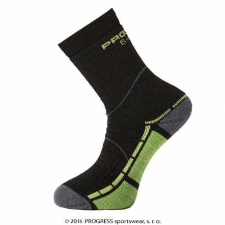 ponožky Progress TRAIL bamboo černo/zelené