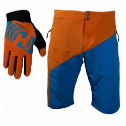 kalhoty krátké pánské HAVEN PURE modro/oranžové + dlouhoprsté rukavice