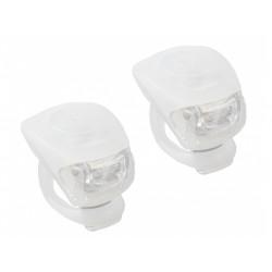 blikačka přední+zadní M-Wave silicon bílé