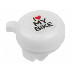 zvonek M-Wave I love my bike - bílý