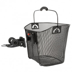 koš přední drátěný s klipem 22.2-31.8mm na řidítka černý
